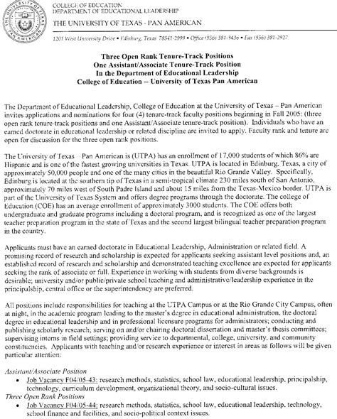 Letter Support Professor Tenure Hispanic Border Leadership Institute Employment Opportunities
