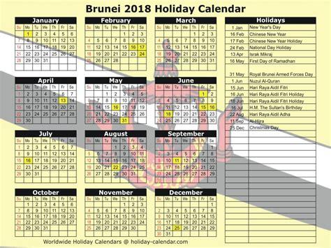 brunei 2018 2019 calendar