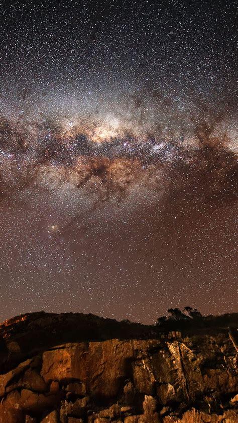 wallpaper night sky stars night milky  mountains