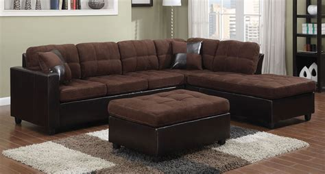 chocolate microfiber sectional sofa w reversible chaise