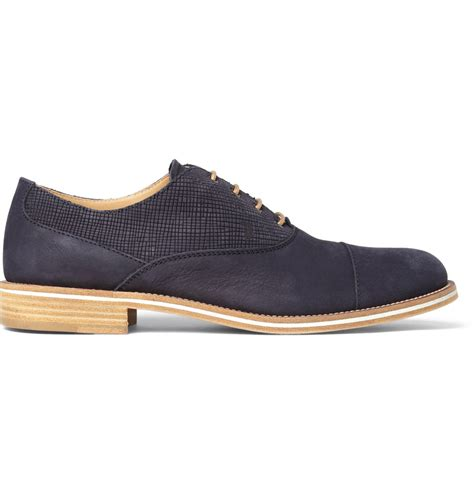 tods oxford shoes lyst tod s contrastpanel suede oxford shoes in blue for