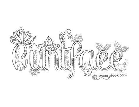 printable coloring pages swear words cuntface swear words coloring page from the sweary
