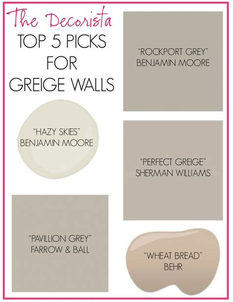 greige colors for the walls