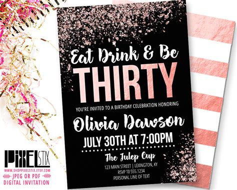 30th invite template 30th birthday gold invitation eat drink and be thirty