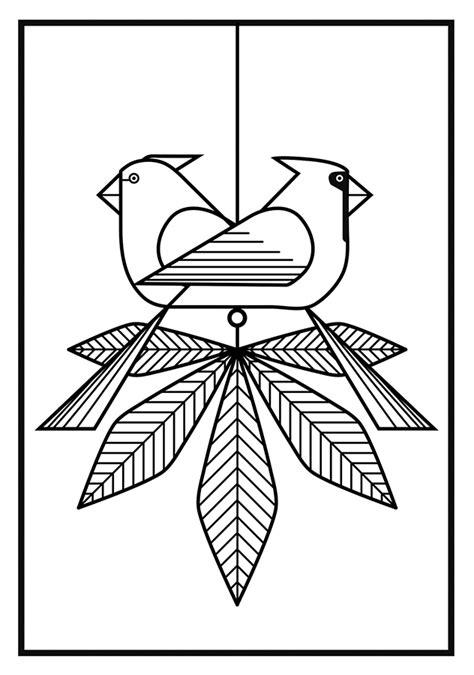 birds charley harper coloring cards