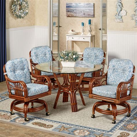 dining room sets with chairs on casters kitchen table sets with rolling chairs gallery including