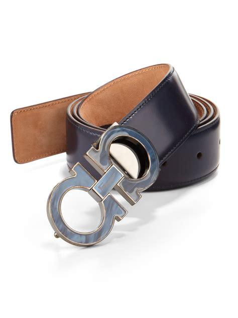 ferragamo gancini leather belt in black for