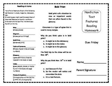 biography text multiple choice nonfiction text features homework trifold home student