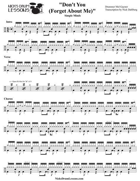 tutorial drum pdf quot don t you forget about me quot simple minds drum sheet