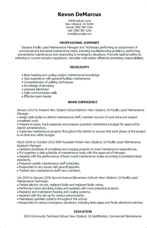 Maintenance Scheduler Sle Resume by Facilities Maintenance Resume Sle 28 Images Maintenance Resumes Unforgettable Facility Lead