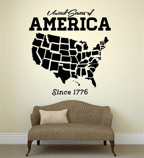Sticker Closet usa map wall sticker united states of america map mural