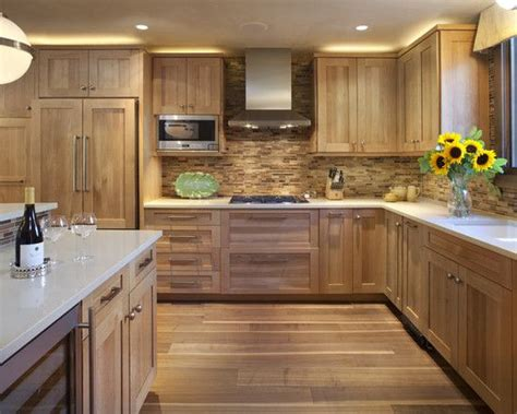 wood backsplash kitchen contemporary hickory kitchen cabinets picture ideas