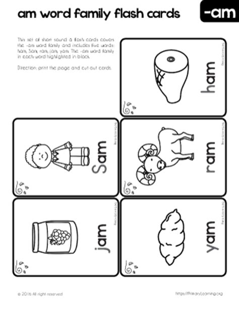 am word family worksheets reading flashcards am family words primarylearning org