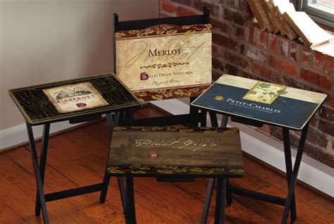 rustic tv tray tables rustic wine labels tv trays wine label tv trays