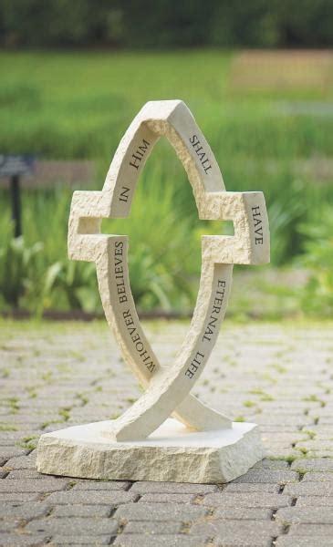 dimensions  christ crossfish garden statue