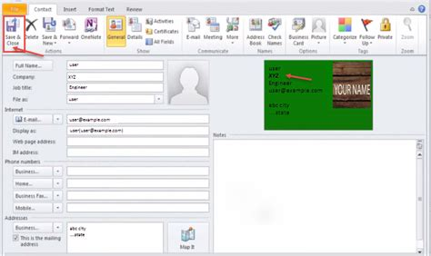 How To Save A Business Card In Outlook