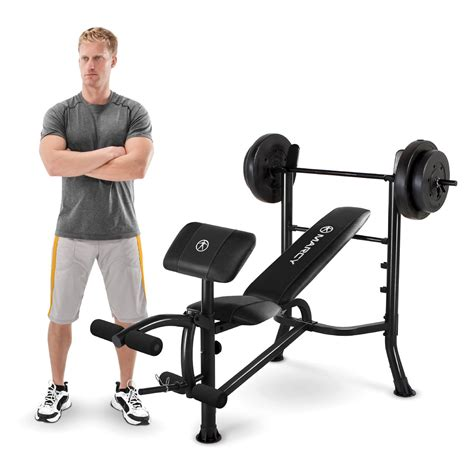 marcy bench with 80 lb weight set marcy standard weight bench with 80 lb weight set