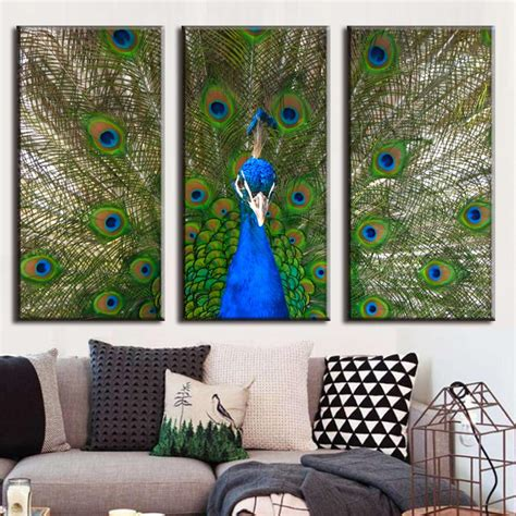 3 pcs set framed artist animal canvas peacock prints painting modern blue peacock wall