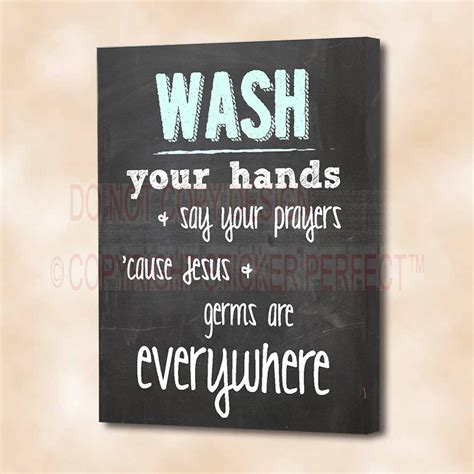cute sayings for home decor framed canvas print wash your hands say your prayers