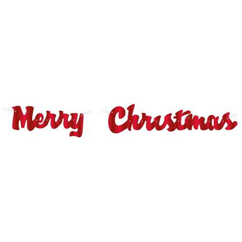 red cursive merry christmas banner christmas party decorations
