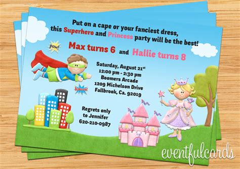 printable joint birthday party invitations kids superhero and princess joint birthday party