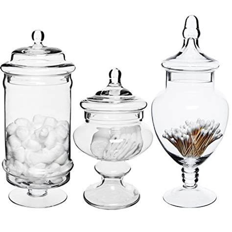 decorative glass jars for kitchen set of 3 deluxe apothecary jar sets glass kitchen storage jars terrarium home decor