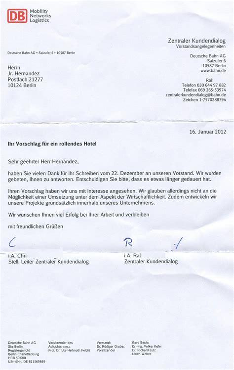 Musterbrief Beschwerde Deutsche Bahn Jr Hernandez Ideen Projekte Und Gesetzesvorschl 228 Ge 2011 2013