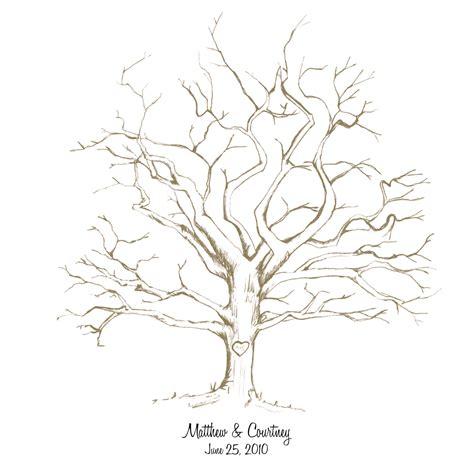 printable hand drawn wedding fingerprint tree  cardsnletters