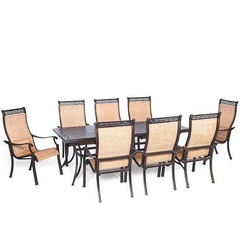 9 Pc Patio Dining Set Hanover Manor 9 Rectangular Patio Dining Set Mandn9pc The Home Depot
