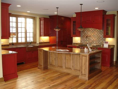 rustic red kitchen cabinets rustic red kitchen