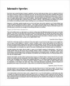 Exle Of Informative Speech Essay by Informative Speech Exle 8 Sles In Word Pdf