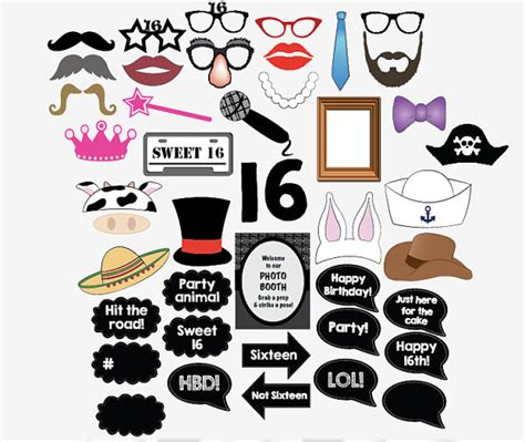 printable photo booth props sweet 16 16th birthday photo booth props printable sweet 16 party