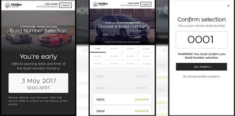 build a holden holden commodore customers to choose build numbers