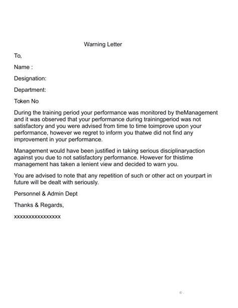 warning letter poor performance letters