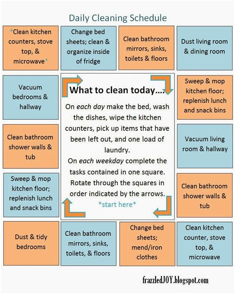 daily cleaning schedule family friday frazzled