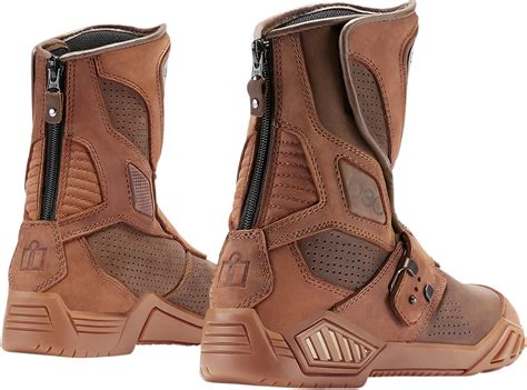 motorcycle street racing boots mens icon brown leather armor retrograde motorcycle riding
