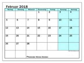 Kalender 2018 Februar Kalender Zum Ausdrucken Februar 2018 Datum Des Monats