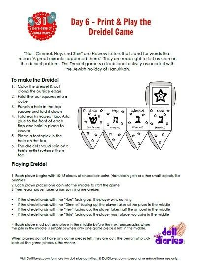 printable directions on how to play dreidel doll play print and play dreidel game doll diaries