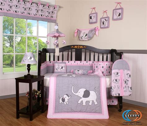 Pink Gray Elephant Crib Bedding by Crib Bedding Set Elephant