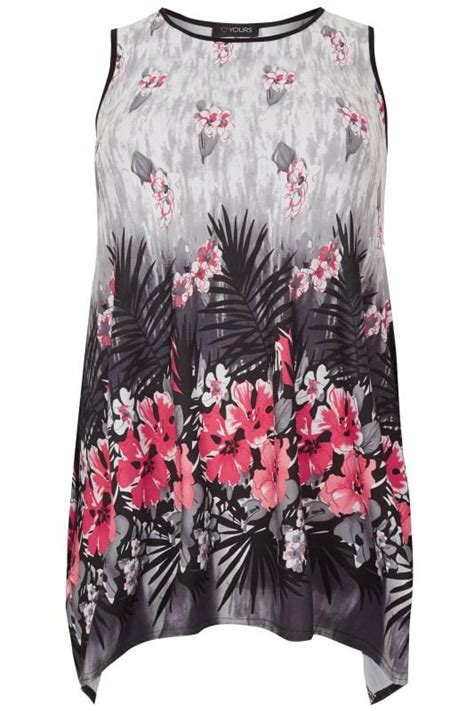 40559 Flower Sm white black pink sleeveless palm swing top with hanky hem plus size 16 to 36