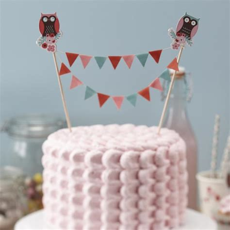 Patchwork Owl Supplies - patchwork owl cake bunting topper 2 sticks per pack