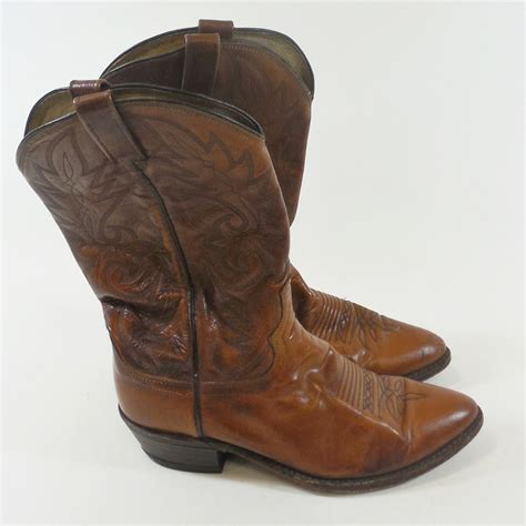 mens used cowboy boots vintage dan post cowboy western boots brown leather s