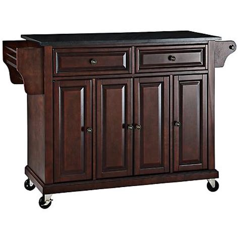 Kitchen Island Cart Granite Top Dover Black Granite Top Mahogany Kitchen Island Cart 7g988 Www Lsplus