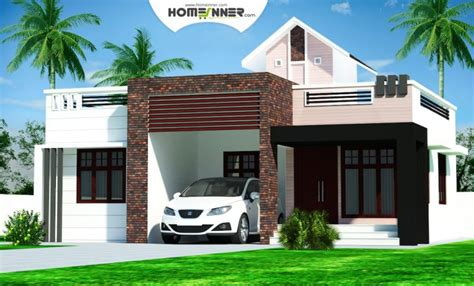 home design rectangular kerala home plans design low cost 976 sq ft 2bhk