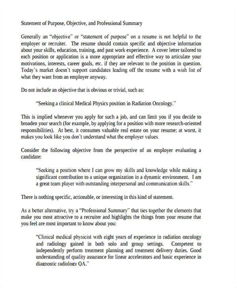 Exles Of Professional Statements by 7 Statements Of Purpose Exles Sles