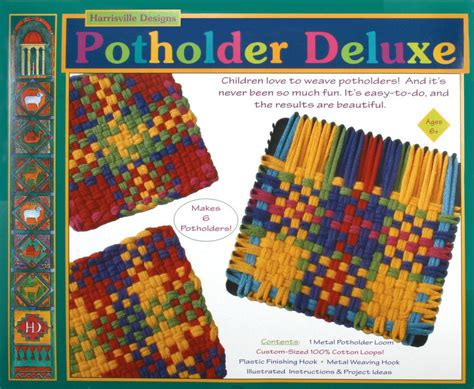harrisville rug loom deluxe harrisville potholder loom kit cotton loops makes 6 weaving equipment halcyon yarn