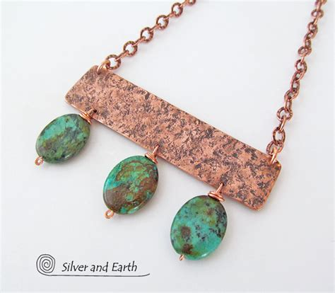 Handcrafted Turquoise Jewelry - copper necklace with turquoise handcrafted boho