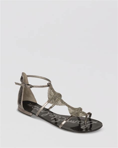 sam edelman shoes sam edelman flat sandals in silver graphite lyst