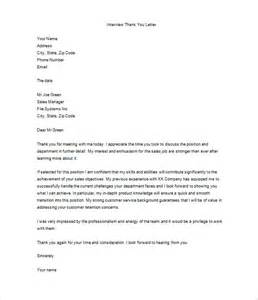 Thank You Template Letter Thank You Letter After Job Interview 10 Free Word