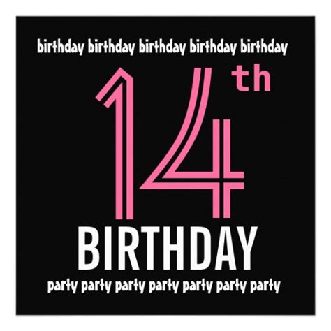 14th birthday card templates 14th birthday invitation template pink black 5 25